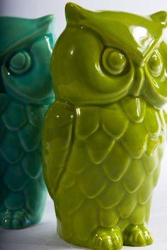 Vintage Ceramic Owl Coin Bank, Kiwi Green. $28.00, via Etsy.