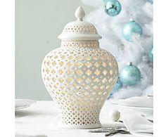 Photophore céramique, blanc - H29