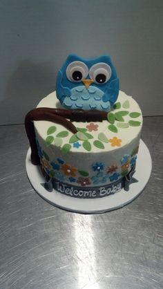 Owl-themed baby shower cake for a boy. Myriad Cake Design