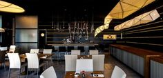 Sushi Restaurant with Origami Lights black ceiling restorant decor Sushi Restaurants, Japan Design, Restaurant Lighting, Restaurant Design, Restaurant Restaurant, Tel Aviv, Ballon Lampe, Portal, Origami Lights
