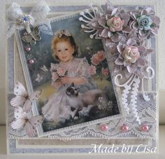 Handmade Lisa Schelvis Baby Scrapbook, Scrapbook Pages, Fabric Books, Die Cut Cards, Picture Cards, Pretty Cards, Paper Cards, Card Designs, Flower Cards