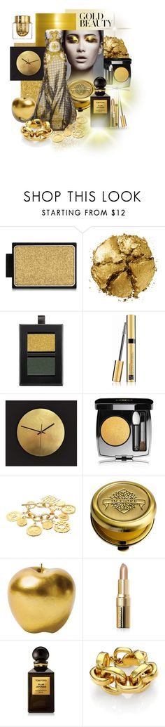 """Gold Beauty"" by alevalepra ❤ liked on Polyvore featuring beauty, Buxom, Pat McGrath, Butter London, Estée Lauder, Chanel, In Fiore, Bitossi, Zuhair Murad and Bobbi Brown Cosmetics"