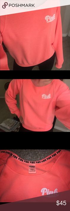 PINK VS Long Sleeve Varsity Sweater NWOT. Coral Pink. Size small. Varsity sweater. Tried it on and I don't think it looks as good on me as it does the models 😅 Sweaters Crew & Scoop Necks