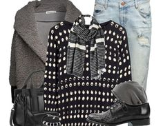 Schickes Outfit, um warm durch den #Winter zu kommen! #warm #blacknwhite #rippedjeans