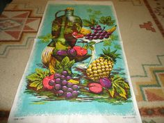 "Vintage Irish Linen Kitchen/Hand Towel.   31"" X 18"".  Fruit Motif. #DoesNotApply"