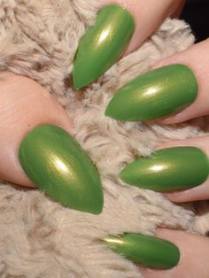 Fake nails Stiletto Nails hand painted nails False Nails long Nails green Irish Nails, Stiletto Nails, Long Nails, Nail Designs, Nail Art, Hand Painted, Makeup, Unique, Green