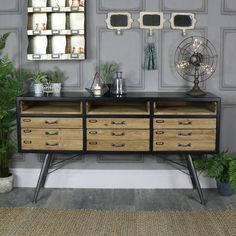 Large Rustic Retro Industrial 6 Drawer Sideboard   #interiordesign #interiordecor #homedecor #myinterior #myhome #homeideas #rustic #rusticfurniture #rustichome #trends #country #rustic #shabbychic #vintage #vintagehome #homestyling #myhomevibe #livingroom #bedroom #furniture #interiors #retro #industrial #home #industrialdesign