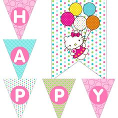 Hello Kitty Inspired Birthday Party Decorations Pack Digital Download DIY Printable