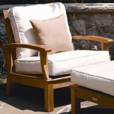 Prefer to Monterey Deep Seating Arm Chair by Three Birds Casual Wood Patio Furniture, Accent Furniture, New Furniture, Living Room Furniture, Furniture Shopping, Porch Chairs, Outdoor Chairs, Outdoor Decor, Chair Fabric