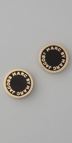 Marc by Marc Jacobs Logo Disc Stud Earrings - StyleSays