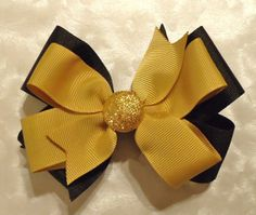 Black and Gold Purdue University Colors Hair Bow or by Bloomzies, $6.00