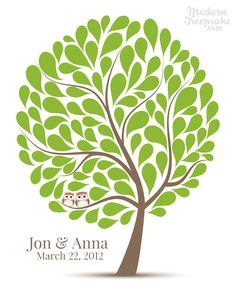 Wedding Guest Book Alternative Signature Tree - 16x20 - 100 Personalized Wedding Guest book Print - Companion Owls in A Tree.