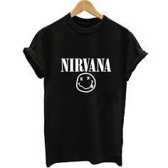 Rock Music Nirvana Small Face Print Black Short Sleeve Tshirt Women Tshirt HarajukuTee Shirts 2017 Streetwear Summer Top Clothes #Affiliate