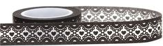 black Washi Masking Tape deco tape with white pattern