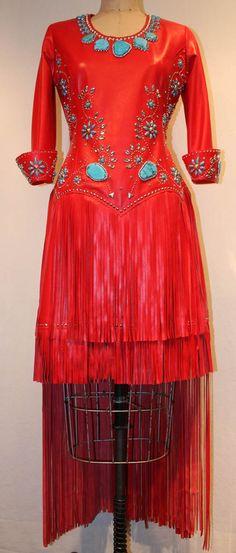 Samantha Fringe long/short dress by Jan Faulkner Leather