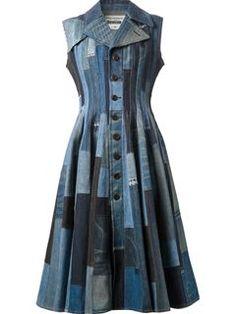 Junya Watanabe Comme Des Garçons Patchwork Flared Denim Dress - Forty Five Ten - Farfetch.com