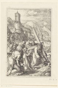 De kruisdraging met de Heilige Veronica, Hendrick Goltzius, 1596 - 1598