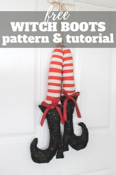 Make your own adorable witch boots for fall or Halloween decorating with this free witch shoe template and tutorial. Halloween Sewing, 31 Days Of Halloween, First Halloween, Halloween Season, Halloween Projects, Shoe Template, Witch Boots, My Little Baby, My Favorite Part