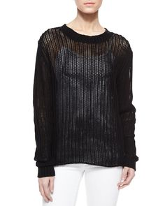FRAME DENIM New Cute Le Oversized Ribbed Black Knit Sweater Pullover Top $300 #FrameDenim #RibbedSweater