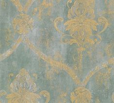 Gold Lattice and Floral Damask on Blue Green by Handcrafted360