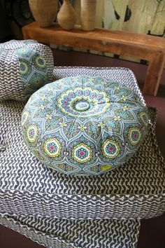 Amy Butler Pouf. Treasure Box by Lark fabric, with charcoal, pink and aqua. I love the colors!!