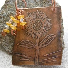 Etched Sunflower Necklace #HAS #HAF #HAFshop #handmade $49.00