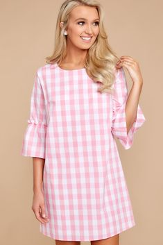 Adorable Gingham Dress - Chic Pink Gingham Dress - Dress - $52.00 – Red Dress Boutique