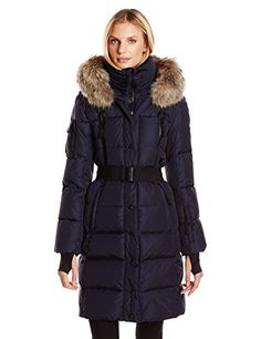 SAM. Women's Infinity Down Coat with Faux Fur Trim Hood and Belt, Navy, Small * Check out this great product.