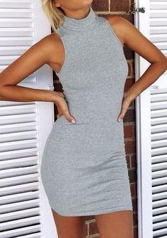Grey Sleeveless Turtleneck Dress