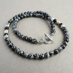 Mens Beaded Necklace - Snowflake Obsidian & Black Onyx Gemstone - Handcrafted in USA $29.95 +