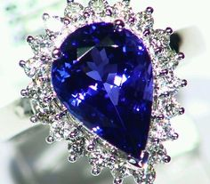 NEW 6.01CT 14KT GOLD NATURAL AAA GRADE TANZANITE WHITE DIAMOND ENGAGEMENT RING  #Handmade #Cocktail