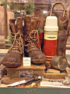 Cool old Bean boots and thermos.