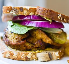 vegan: smoky maple seitan sandwich...