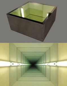 "Chul Hyun Ahn, ""Tunnel IV,"" 2011 (two views), cast concrete, lights, mirrors, ed. of 3, 20x40x40 inches - Chul Hyun Ahn - Wikipedia"