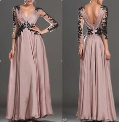 Long sleeve lace wedding dress V-neck chiffon formal evening dress prom dress: