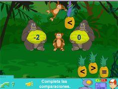 Gorilas: compara números enteros #matematicas #math #games #juegos #online #pipo