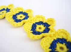 Crochet Bracelet Crocheted Flowers Shiny Metallic by CrochetPocket, $10.00