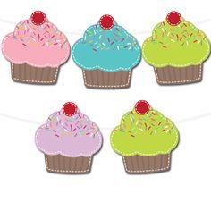 Free Printable Cupcake Banner   Printable Party Decor #freeprintable #printable