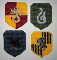 Harry Potter, Hogwarts House Coasters made from Plastic Canvas by Robert … Plastic Canvas Coasters, Plastic Canvas Tissue Boxes, Plastic Canvas Crafts, Plastic Canvas Patterns, Beaded Cross Stitch, Cross Stitch Patterns, Minion, Art Folder, Canvas Designs