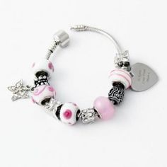 Charm Bracelet With Personalised Message Charm - BTY-P0102B37