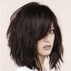 Thick Textured Long Bob with Bangs