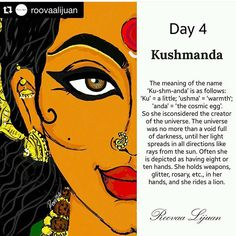 Navratri Day 4 - Dedicated to Goddess Kushmanda Kali Goddess, Mother Goddess, Durga Maa, Shiva Shakti, Hindu Festivals, Indian Festivals, Cosmic Egg, Navratri Images, Durga Images