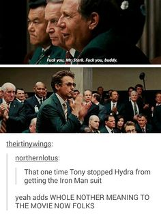 Tony stopped hydra from getting the iron man suit Avengers Memes, Marvel Memes, Marvel Dc Comics, Marvel Avengers, Tony Stark, Dc Memes, Marvel Funny, Robert Downey Jr, Marvel Cinematic Universe