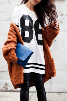Super Bowl Style - How to Make a Sports Jersey Look Chic - black and white jersey, rust colored knit cardigan + black leather pants