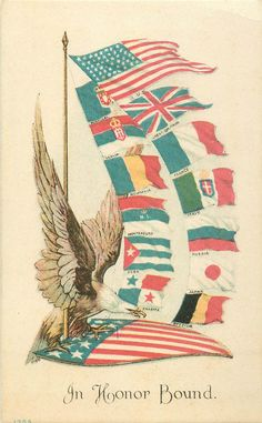 PATRIOTIC WW1 ALLIES FLAGS JOINED WITH AMERICAN EAGLE SYMBOL P/C