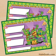 retro TMNT invite 5x7 FREE Printable Retro TMNT Ninja Turtle Birthday Invitation