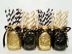 Mason Jar Centerpieces, Gold Wedding, Black and Gold Decor, New Year\'s Eve Decor, Birthday Party, Graduation Party, Wedding Decor, Set of 4 by LimeAndCo on Etsy https://www.etsy.com/listing/232938867/mason-jar-centerpieces-gold-wedding