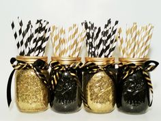 Mason Jar Centerpieces, Gold Wedding, Black and Gold Decor, New Year's Eve Decor, Birthday Party, Graduation Party, Wedding Decor, Set of 4 by LimeAndCo on Etsy https://www.etsy.com/listing/232938867/mason-jar-centerpieces-gold-wedding