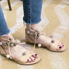 Lace'em Up // Loeffler Randall Saskia Pompom Sandals. Strappy Sandals, Gladiator Sandals, Leather Sandals, Pom Pom Sandals, Bohemian Look, Boho, Current Fashion Trends, Beige, Spring Has Sprung