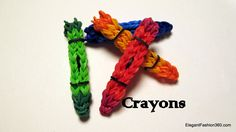 How to make Crayon Charm - Rainbow Loom - School Series